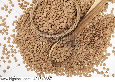 Very Healthy Food; Raw Brown Lentils Heap