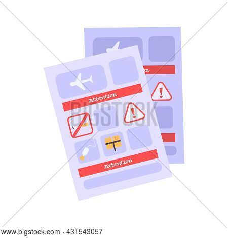 Aircraft Safety Briefing Cards On White Background Flat Vector Illustration
