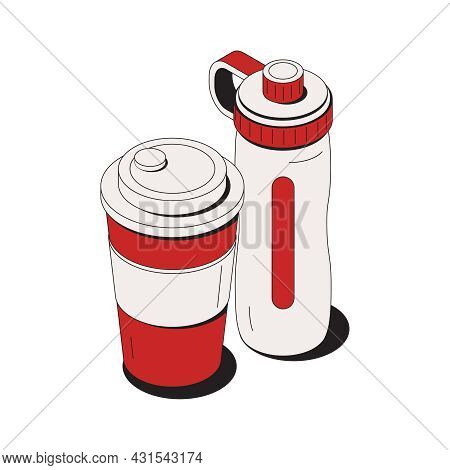 Isometric Icon With Reusable Touristic Water Bottle And Drinking Cup 3d Vector Illustration