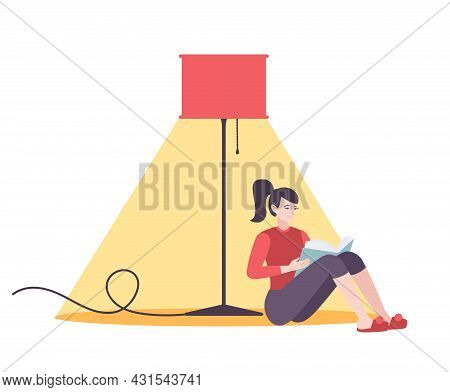 Utility Service Electricity Flat Composition With Woman Reading Book Under Standard Lamp Vector Illu