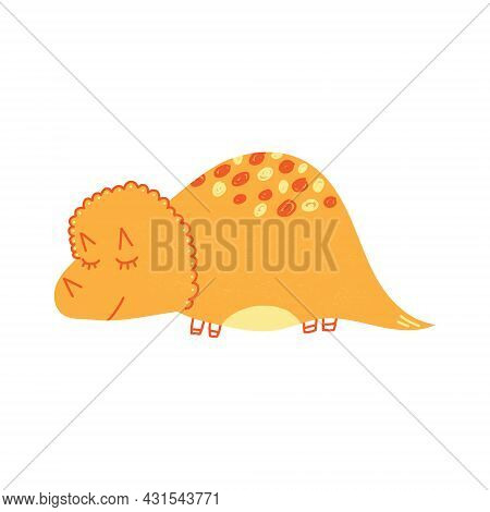 Hand Drawn Cartoon Vector Illustration Of Cute Dinosaur. Isolated On White Background.