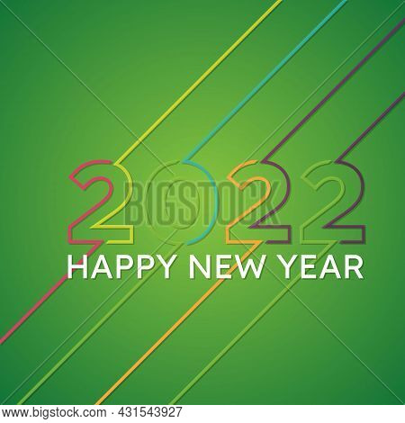 2022 Happy  New Year Insta Color Banner With Line. 2022 Design Greetings, Invitations And Banner Or