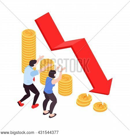 Isometric Financial Crisis Icon With Stack Of Coins And Frustrated Characters Watching Falling Arrow