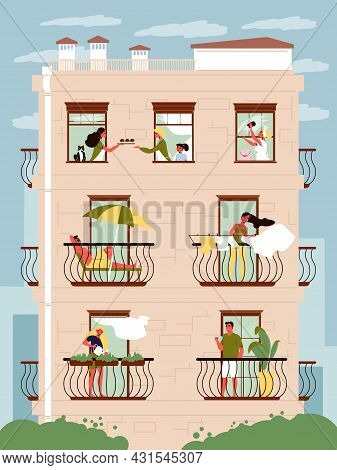 Residential House Facade With Neighbours In Windows And On Balconies Flat Vector Illustration