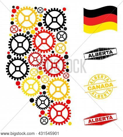Service Alberta Province Map Mosaic And Seals. Vector Collage Is Composed With Service Icons In Vari