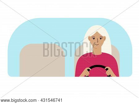 Vector Illustration Of A Woman Driver Driving. Looks Through The Windshield