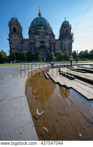 Berlin, Germany - August 12 , 2021 - Panoramic View Of Berlin Cathedral With Blue Sky.