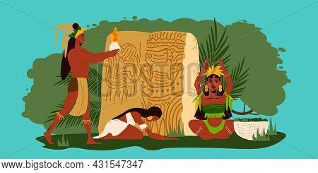 Three Maya People Worshipping Idols And Performing Ritual On Color Background Flat Vector Illustrati