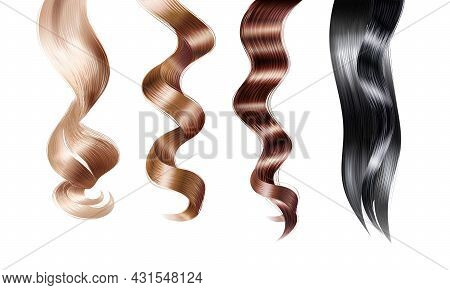 Strand Of Hair Realistic Set With Isolated Images Of Female Hair Twirls With Different Dye Applied V