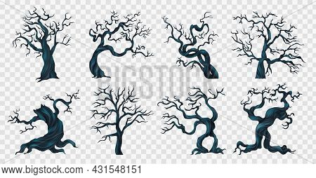 Spooky Trees Transparent Set With Scary Nightmare Symbols Realistic Isolated Vector Illustration