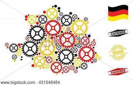 Workshop Caceres Province Map Collage And Stamps. Vector Collage Is Formed From Clock Gear Items In