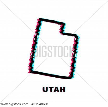 Utah State Map Glitch Icon. Vector Illustration.