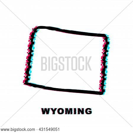 Wyoming State Map Glitch Icon. Vector Illustration.