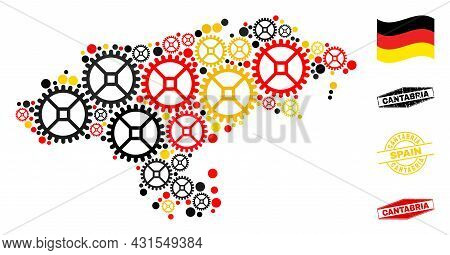 Repair Service Cantabria Province Map Mosaic And Seals. Vector Collage Is Created With Repair Servic