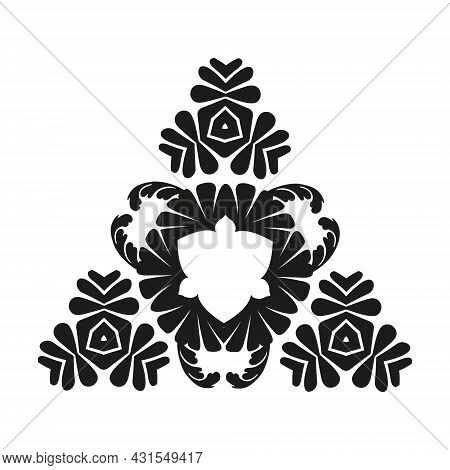 Graphic Ornament Of Black Color In The Style Of Deco On A White Background. Tattoo Design. Retro Abs