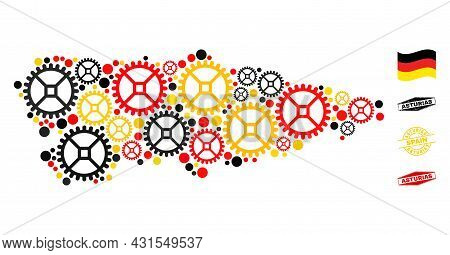 Gear Asturias Province Map Collage And Stamps. Vector Collage Is Created Of Clock Gear Icons In Diff