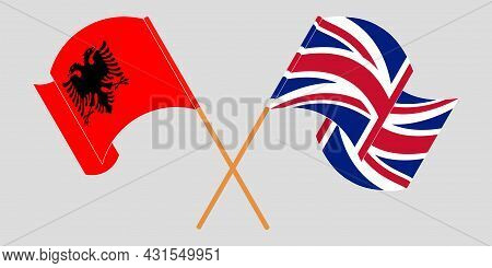 Crossed And Waving Flags Of Albania And The Uk