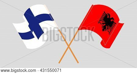 Crossed And Waving Flags Of Albania And Finland