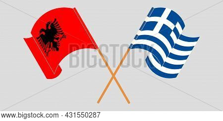 Crossed And Waving Flags Of Albania And Greece