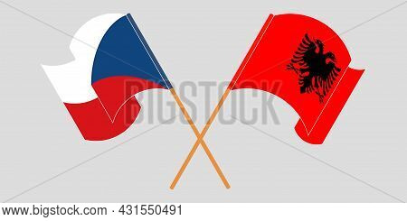 Crossed And Waving Flags Of Albania And Czech Republic