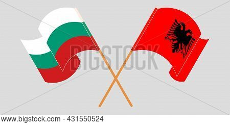 Crossed And Waving Flags Of Albania And Bulgaria