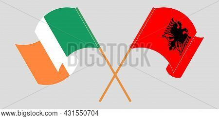 Crossed And Waving Flags Of Albania And Ireland