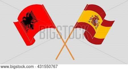 Crossed And Waving Flags Of Albania And Spain