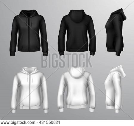 Realistic Black And White Hooded Sweatshirts For Women With Front Back And Side View Isolated Vector