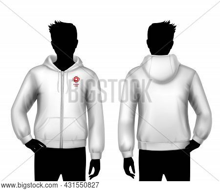 Male Hooded Sweatshirt Realistic Template With Man Body Silhouettes In Black And White Colors Isolat
