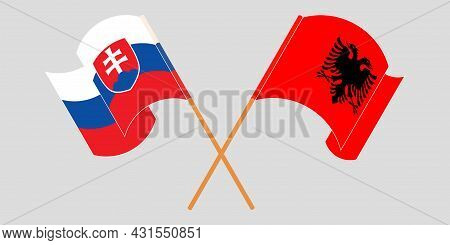 Crossed And Waving Flags Of Albania And Slovakia