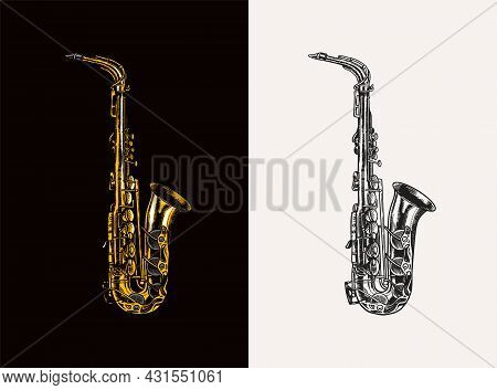 Jazz Saxophone In Monochrome Engraved Vintage Style. Hand Drawn Trumpet Sketch For Blues And Ragtime