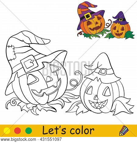 Funny Halloween Pumpkins In Hats Of Witch. Halloween Concept. Coloring Book Page For Children With C