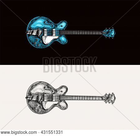 Semi-acoustic Jazz Bass Guitar In Monochrome Engraved Vintage Style. Hand Drawn Sketch For Rock Fest
