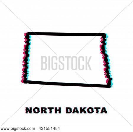 North Dakota State Map Outline Glitch Icon. Vector Illustration.