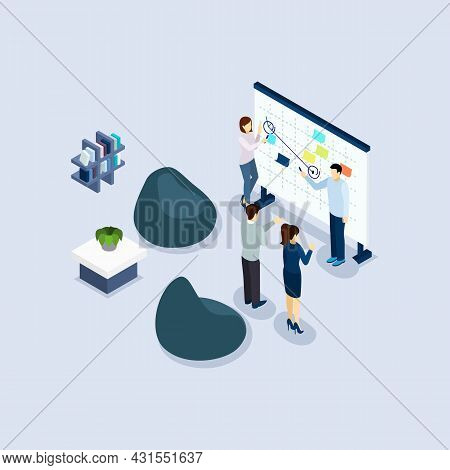 Coworking Freelance Employed People Sharing Working Place Environment In Organization Office Isometr