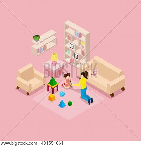 Family At Home Isometric Banner With Young Mother And Daughter In Playroom With Toys Abstract Vector