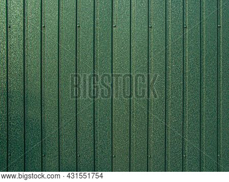 Background Of Gray Corrugated Metal Sheet. Modern Technologies In Construction. Metal Tiles. Reliabl