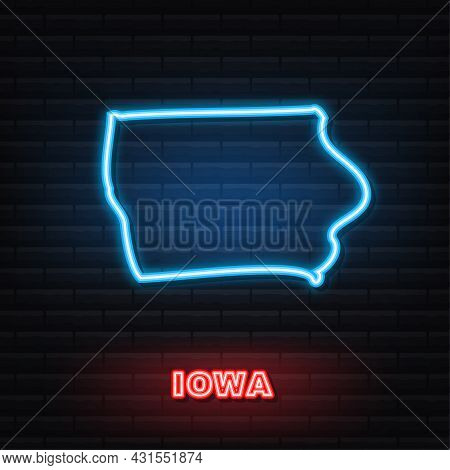Iowa State Map Outline Neon Icon. Vector Illustration.
