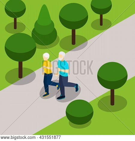 Active Retirement Lifestyle Isometric Banner With Elderly Couple Jogging In The Park Abstract Vector