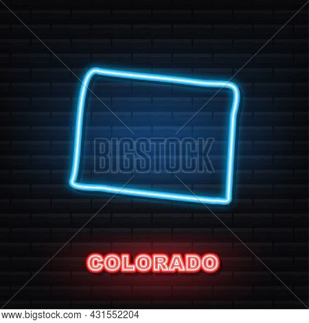 Colorado State Map Outline Neon Icon. Vector Illustration.