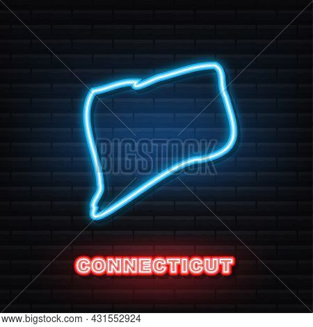 Connecticut State Map Outline Neon Icon. Vector Illustration.