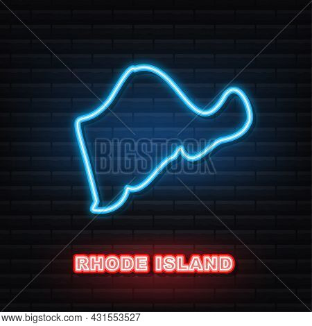 Rhode Island State Map Outline Neon Icon. Vector Illustration.