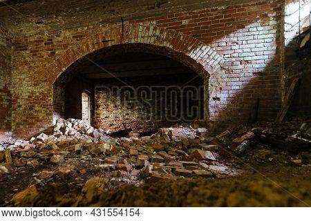 Vaulted Red Brick Dungeon Under Old Mansion