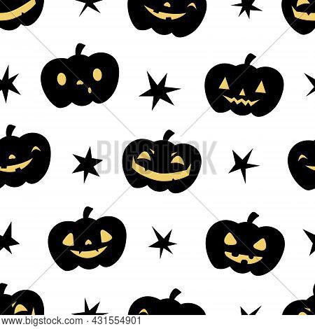Pumpkin Jack O Lantern. Halloween Seamless Pattern. Childish Background