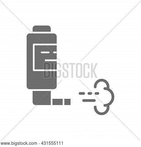 Inhaler For Asthma, Inhalation Spray Grey Icon.
