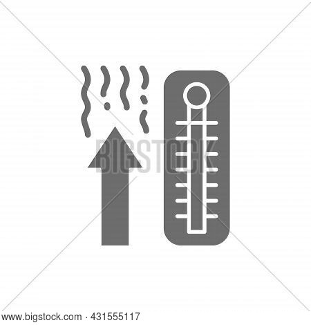 Thermometer, Temperature Rise Grey Icon. Isolated On White Background