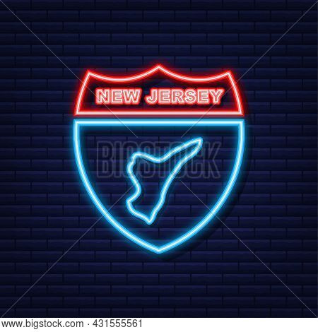 New Jersey State Map Outline Neon Icon. Vector Illustration.