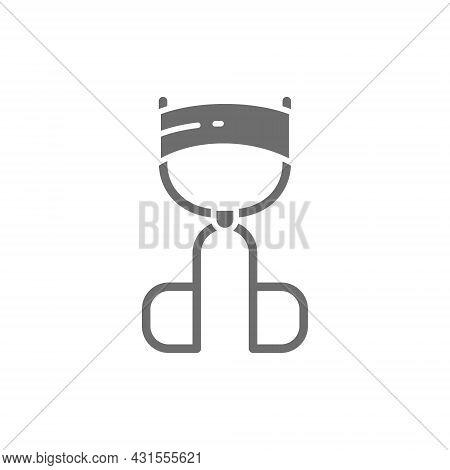 Eyelash Curler Grey Icon. Isolated On White Background
