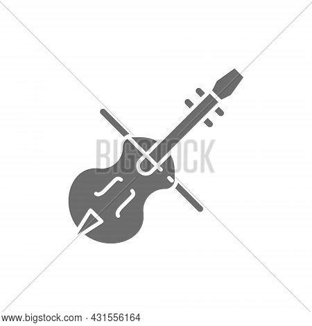 Violin, Violoncello, Cello, String Musical Instrument Grey Icon.
