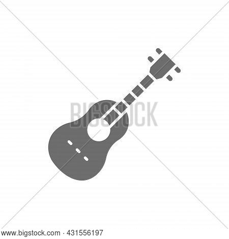 Acoustic Guitar, String Musical Instrument Grey Icon.